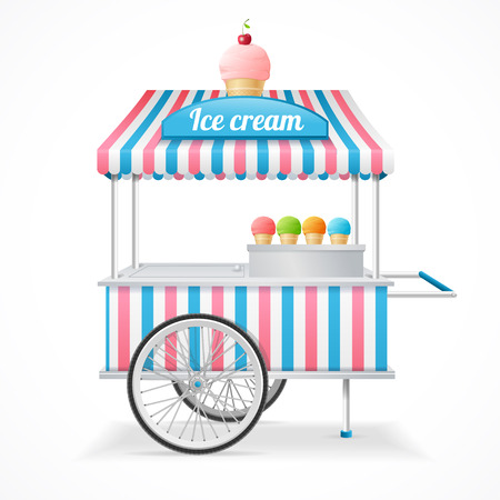 Ice Cream Cart Market Card Isolated on White Background. Vector illustration Stock Illustratie