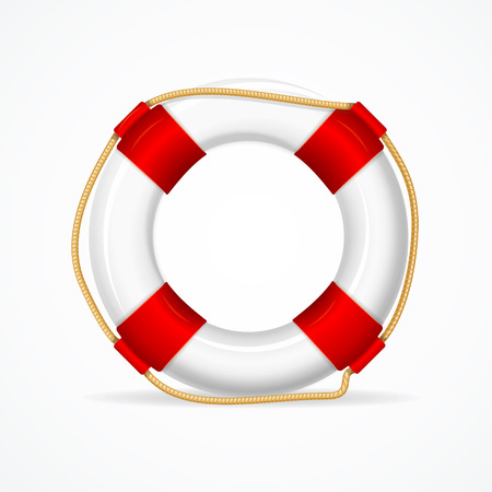 ring life: Life Buoy Ring Isolated on White Background. Required Attribute Rescuer. Vector illustration