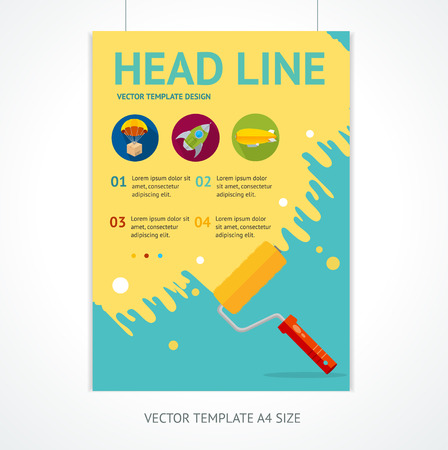 rollerbrush: Placard Poster Template with Rollerbrush and Space for Text. Vector illustration