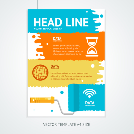 placard: Placard Poster Template with Rollerbrush. The Title and the Section Under the Text. Vector illustration