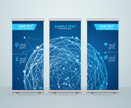 Roll Up Banner Stand Design with Abstract Glowing Sphere. Scientific Concept. Vector illustration