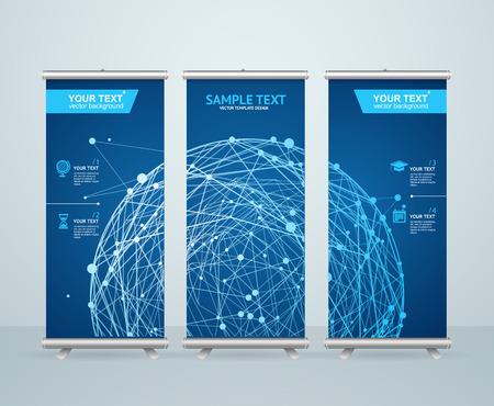 Roll Up Banner Stand ontwerp met abstracte gloeiende bol. Wetenschappelijke Concept. vector illustratie Stockfoto - 44432262