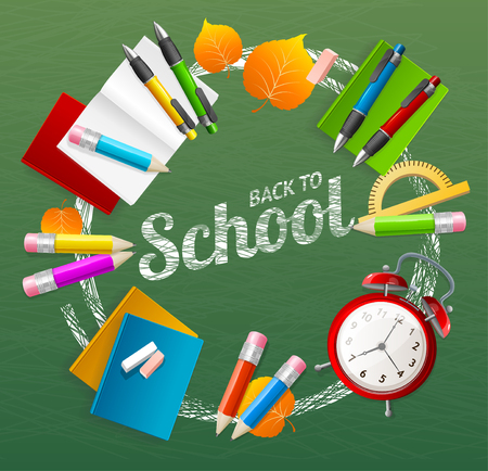 chalk board: Back to School Concept Design Element Collection Isolated on Green Background. Vector illustration