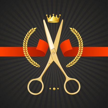 barbero: Tijeras Peluquería Concept. Golden Scissors cortar la cinta roja. El Símbolo del ganador en un fondo Negro. Ilustración vectorial