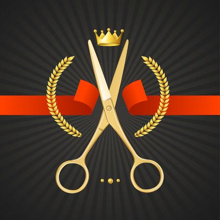 peluquero: Tijeras Peluquer�a Concept. Golden Scissors cortar la cinta roja. El S�mbolo del ganador en un fondo Negro. Ilustraci�n vectorial