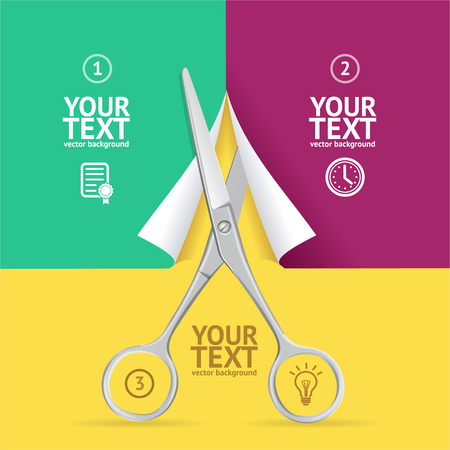 cut: Scissors Cut Paper Option Banner. Individual Parts of a Whole. Vector illustration