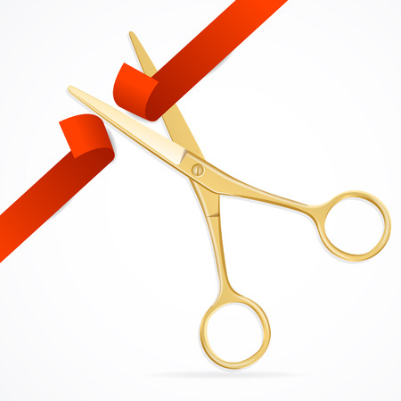 event icon: Scissors Cut Red Ribbon. The Symbol of the Grand Opening Event. Vector illustration