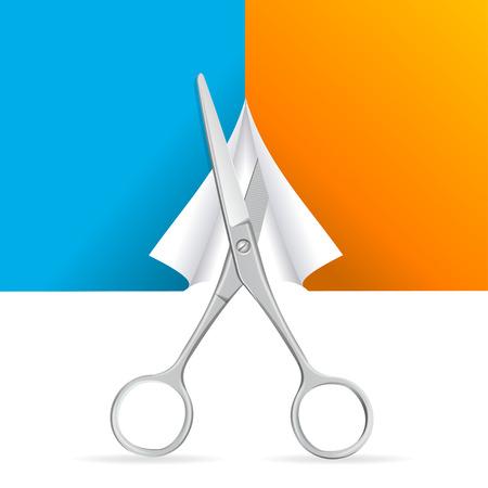 precise: Scissors Cut Paper. Sharp blades, Precise Work. Vector illustration