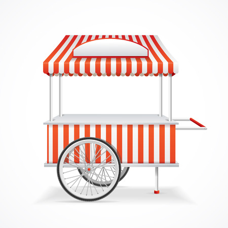 cart: Market Cart Mobile in Red and White Stripes. Vector illustration Illustration