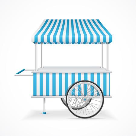 vitrine: Market Cart Mobile in Blue and White Stripes. Vector illustration