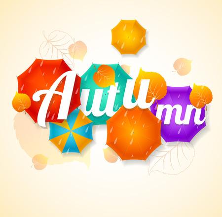 rainfall: Autumn Umbrella Lettering Concept. The rainy season. Vector illustration