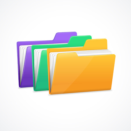 file folders: File Folders Set. Filing and archiving data. Vector illustration