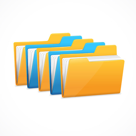 file folders: File Folders Set. The character data storage. Vector illustration