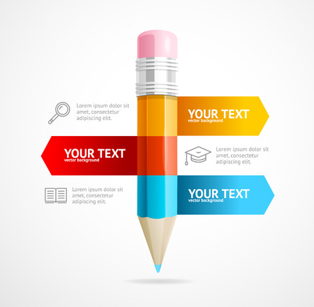 a concept: Pencil Infographic Business Education Concept. Place for Your Content. Vector illustration Illustration