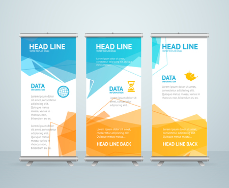 Roll Up Banner Stand Design with Abstract Geometric Colorful Bubble Speech. Vector illustration Ilustração