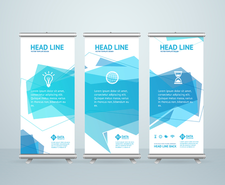 banner stand: Roll Up Banner Stand Design with Abstract Geometric Blue Bubble Speech. Vector illustration