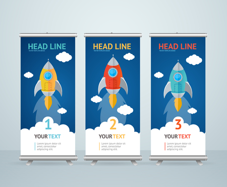 Roll Up Banner Stand Design with Flying Rocket in the Sky. Vector illustration Illustration