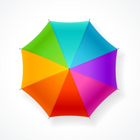 lluvia paraguas: Paraguas del arco iris aisladas sobre fondo blanco. Mood Alegre. Ilustración vectorial