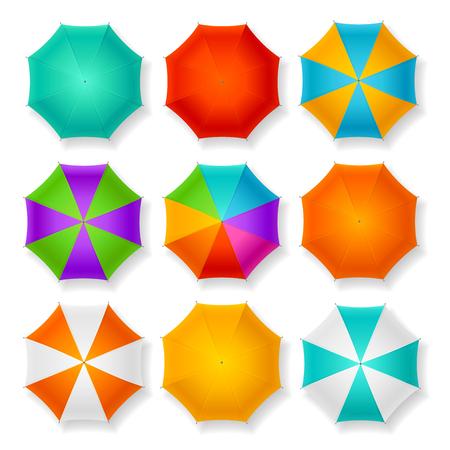 fall protection: Set of Nine Different Umbrellas. Vector illustration Illustration