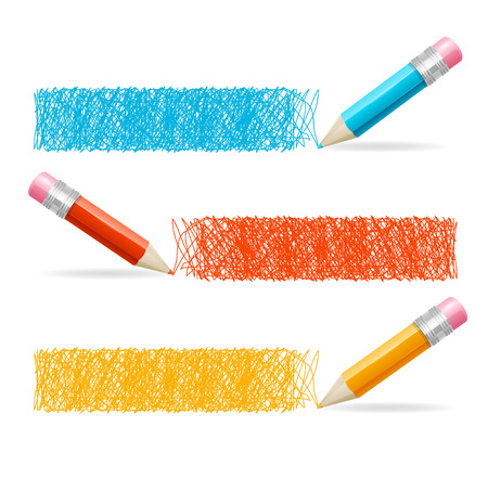 crayons: Pencil Drawing Header. Horizontal Set. Vector illustration