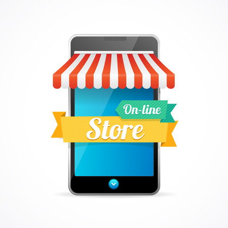 Phone Mobile Store On-line Isolated on White Background. Vector illustration