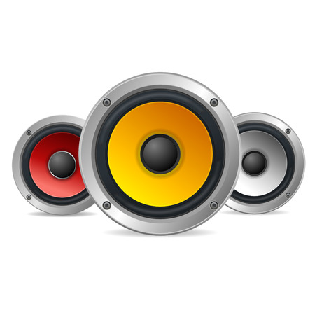 estudio de grabacion: Altavoces Audio Agudos aislado sobre fondo blanco. ilustración vectorial Vectores