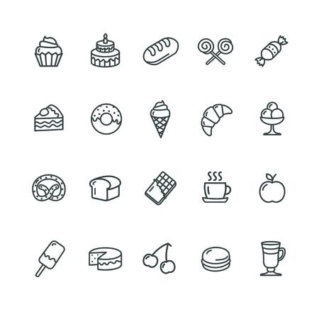 outlinear: Panadería y Pastelería de conjunto de iconos. Ilustración vectorial