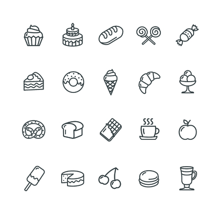 colazione: Panetteria e Pasticceria Set di icone. Illustrazione vettoriale Vettoriali