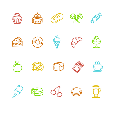 pastries: Bakery and Pastry Colorful Icons Set. Vector illustration Illustration