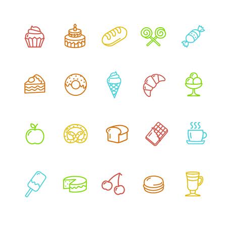 pasteles: Panadería y pastelería iconos coloridos Conjunto. ilustración vectorial