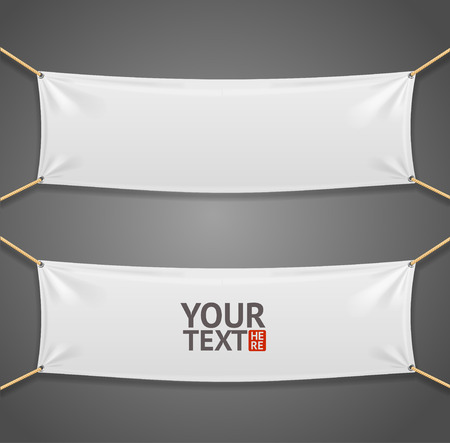 hanging banner: Blanc Fabric Rectangular Banner with Ropes Isolated on  Grey Background. Vector illustration Illustration
