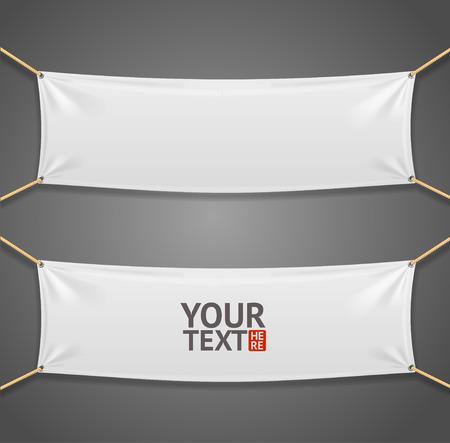 blanc: Blanc Tela rectangular Bandera con cuerdas aisladas sobre fondo gris. Ilustraci�n vectorial