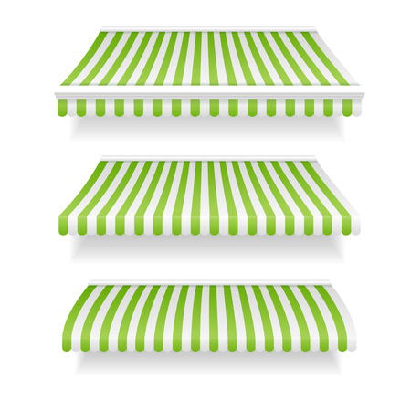 awnings: Colorful Awnings for Shop Set Green. Vector illustration