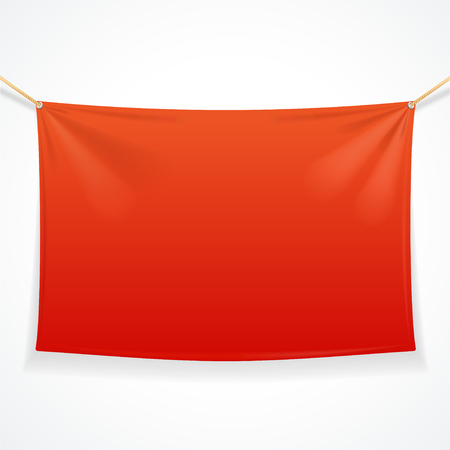 Fabric Rectangular Red Banner with Ropes. Vector illustration