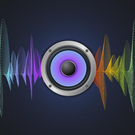 loud speaker: Musical Concept. Audio Speaker and Equalizer on Dark Background. Vector illustration Illustration