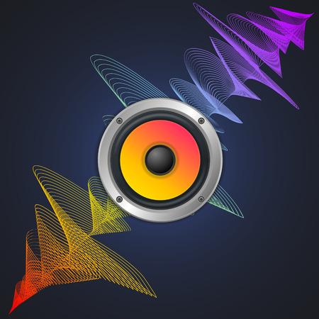 woofer: Musical Concept. Audio Speaker and Equalizer on Dark Background. Colorful Musical Bar. Vector illustration Illustration