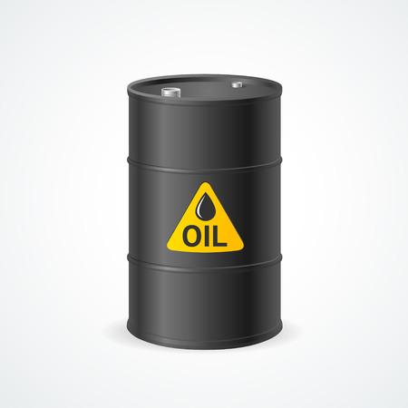 barel: Black Metal Oil Barrel with Label. Vector illustration Illustration