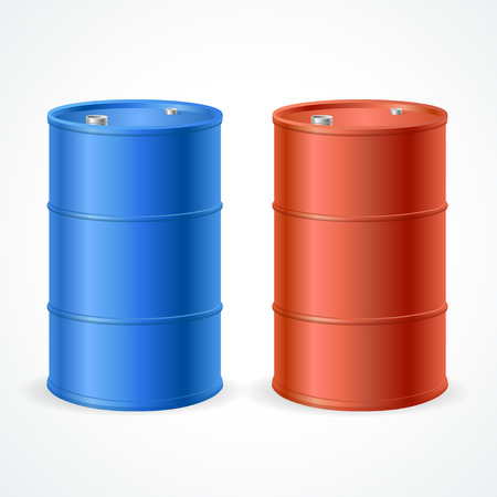 toxic barrels: Oil Barrel Drum. Red and Blue Barrel. Vector illustration Illustration