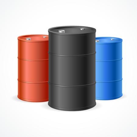 barel: Oil Barrel Drum. Three Colorful Steel Barrels. Vector illustration Illustration