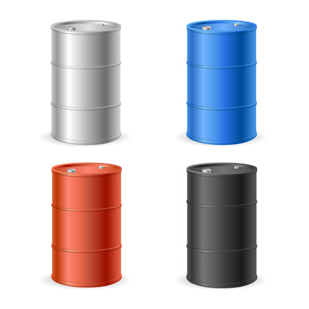 Oil Barrel Drum Collection. Four Colored Steel Barrels. Vector illustration