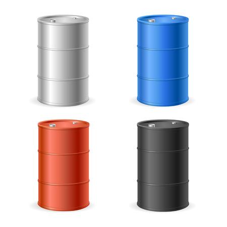 Oil Barrel Drum Collection. Four Colored Steel Barrels. Vector illustration