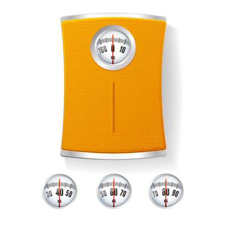 bathroom scale: Orange Bathroom Scale with Different Dials. The Concept of Control of Body Vector illustration Illustration