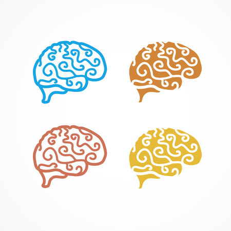 generate: Brain Icon Colorful Set.  Generate idea. Vector illustration Illustration