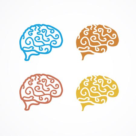 generate: Brain Icon Colorful Set.  Generate idea. Vector illustration Illustration