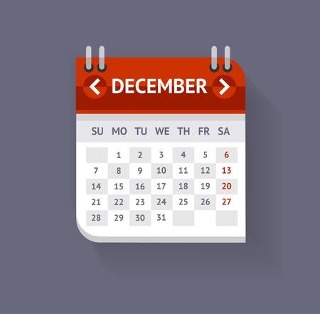 calendario diciembre: Calendar December Isolated On Grey Background. Flat Design. Vector illustration Vectores