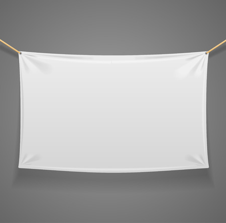 fabric label: Blanc Fabric Rectangular Banner with Ropes Isolated on Grey Background. Ready Template for Your Logo, Text and Design. Vector illustration