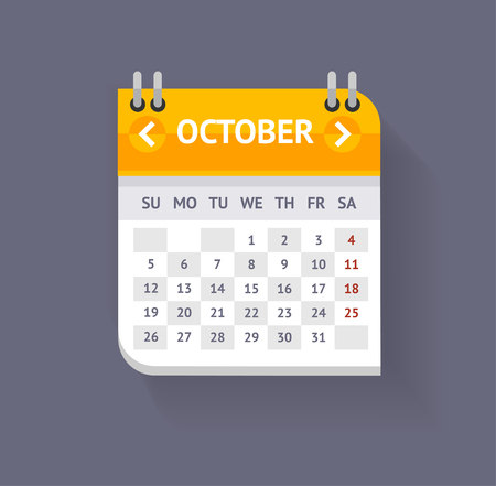 calendar october: Calendar October Isolated On Grey Background. Flat Design. Vector illustration Illustration