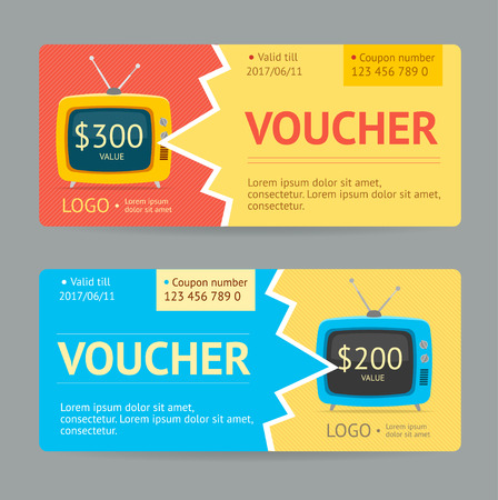 win money: Gift Voucher Template. The concept of winning. Vector illustration Illustration