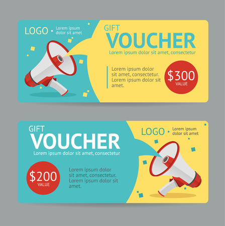 gift: Gift Voucher Template. The announcement of the winning. Vector illustration
