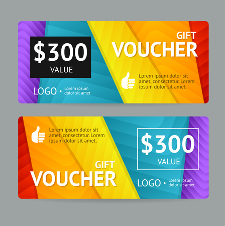 Gift Voucher Blank with Bright Abstract Pattern. Vector illustration